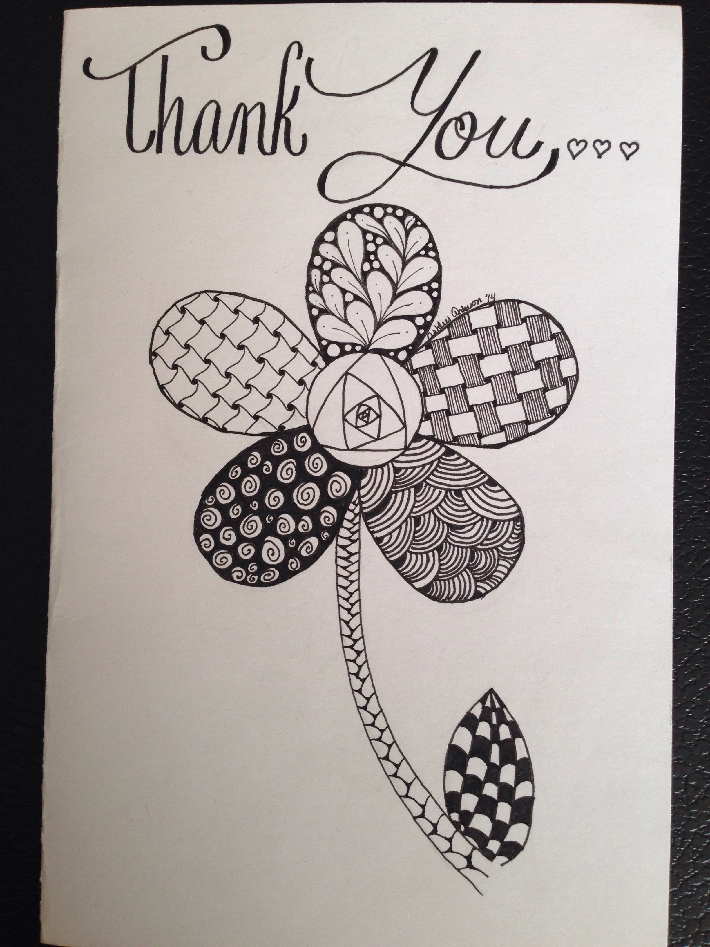 Simple Zentangle flower thank you card,By Ashley Anderson