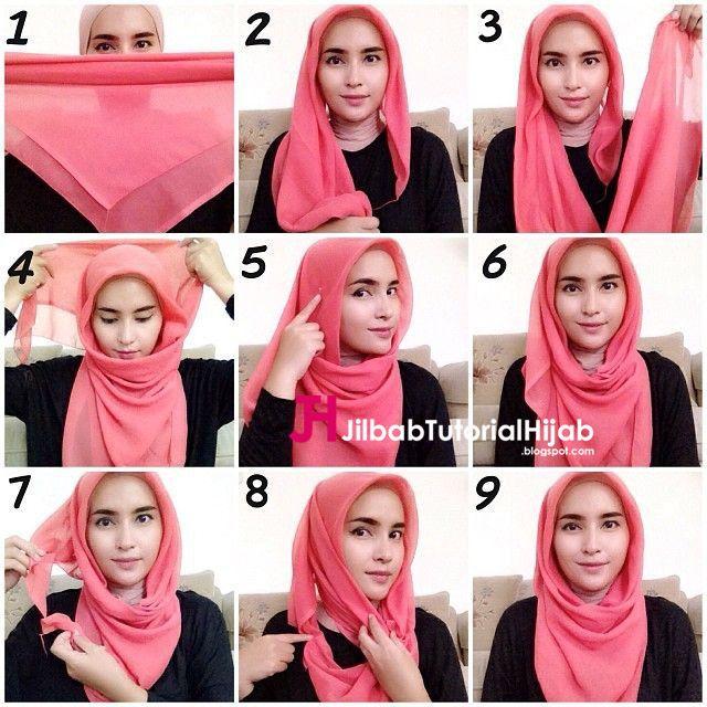Kumpulan Gambar Tutorial Cara Memakai Hijab Segi Empat Style Terbaru
