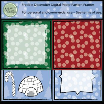 """Enjoy the Freebie and make me smile with a """":) - Smiley Face"""" in the comments!!!Here is a December Freebie Pack which includes four frames and digital paper as well as a Black Line Igloo and Candy Cane.These samples, are part of larger sets in my TpT, check them out!"""