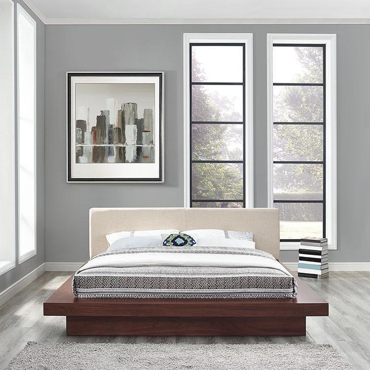 Oslo Queen Fabric Platform Bed Bed Frame Headboard Platform