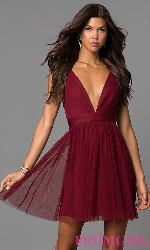 b449d1e099 Image of wine red deep v-neck short open-back party dress. Style   LUX-LD4032 Front Image