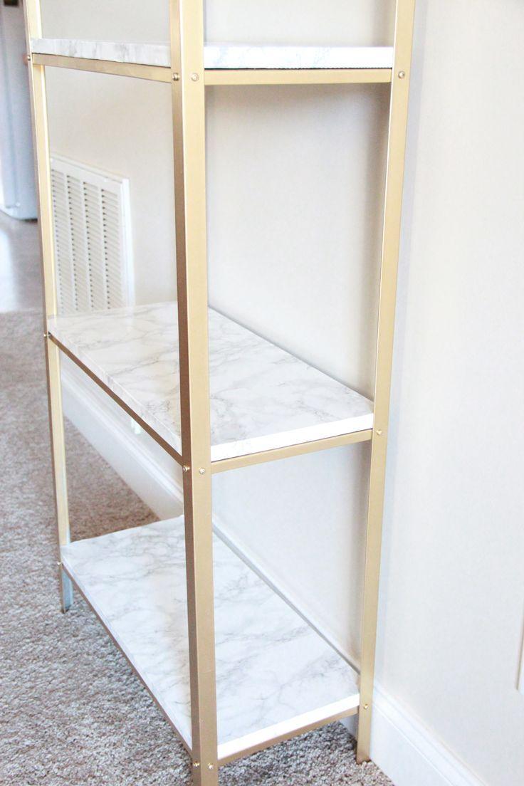 Gold And Marble Ikea Hyllis Hack Malia Lynn Blog Diy Home Decor Projects Home Diy Easy Diy Hacks