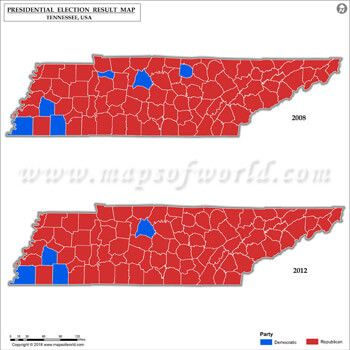 Tennessee Election Results Map 2008 Vs 2012 | US Presidential ...