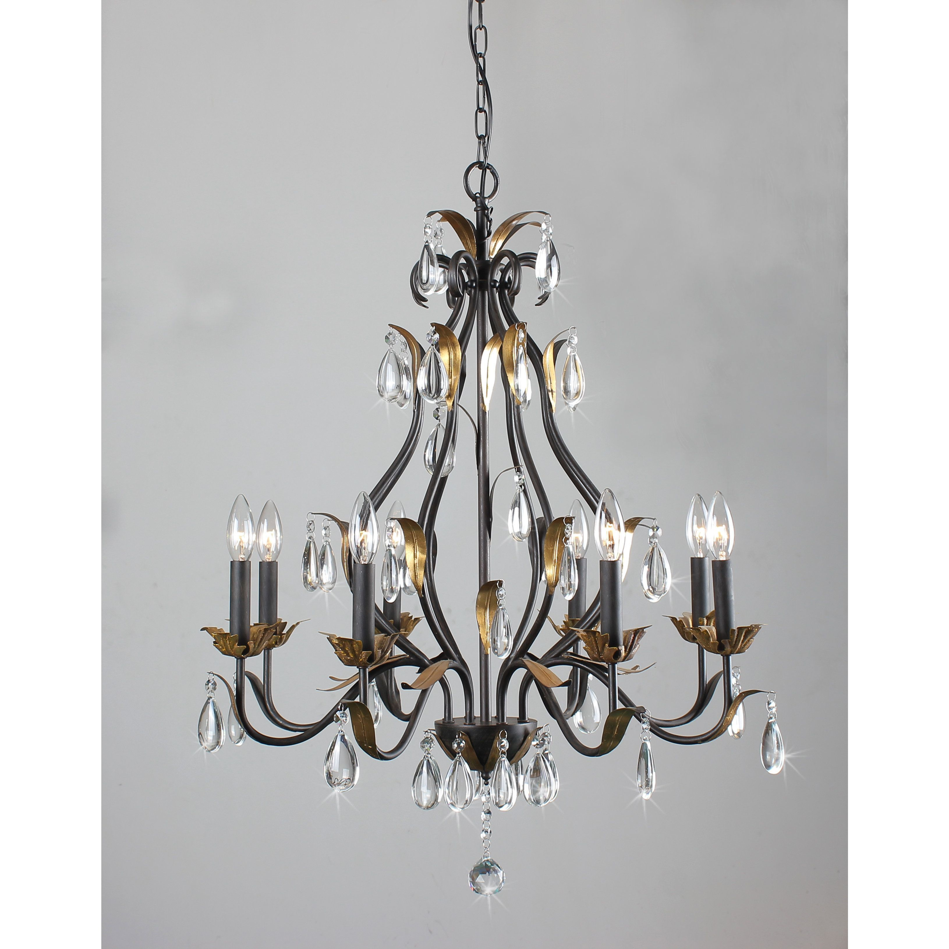 First Lighting Juno 8 Light Antique Bronze Candelabra Chandelier