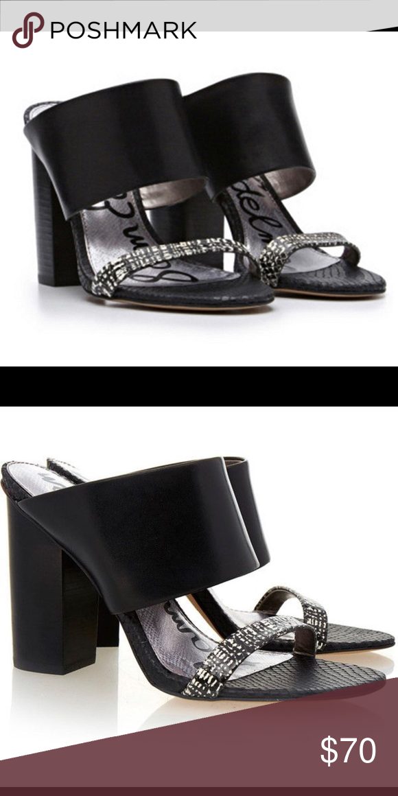 05ad7db5e7a2f Sam Edelman Yoselin 10 Black Sandals New These mules are crafted from  leather into an open