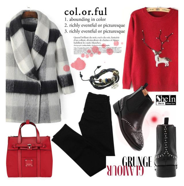 """Black, White and Red!"" by helenevlacho ❤ liked on Polyvore featuring J Brand, Henri Bendel, vintage and shein"