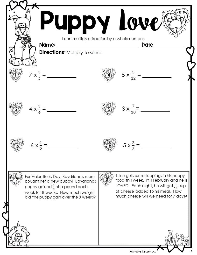hight resolution of Puppy Love Multiplying Fractions {Valentine's Day Themed} for 4th and 5th  Grade   Fractions