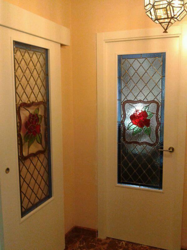 5050c1 con cristal emplomado puerta abatible y corredera puertas lacadas en blanco puertas Puerta cristal abatible