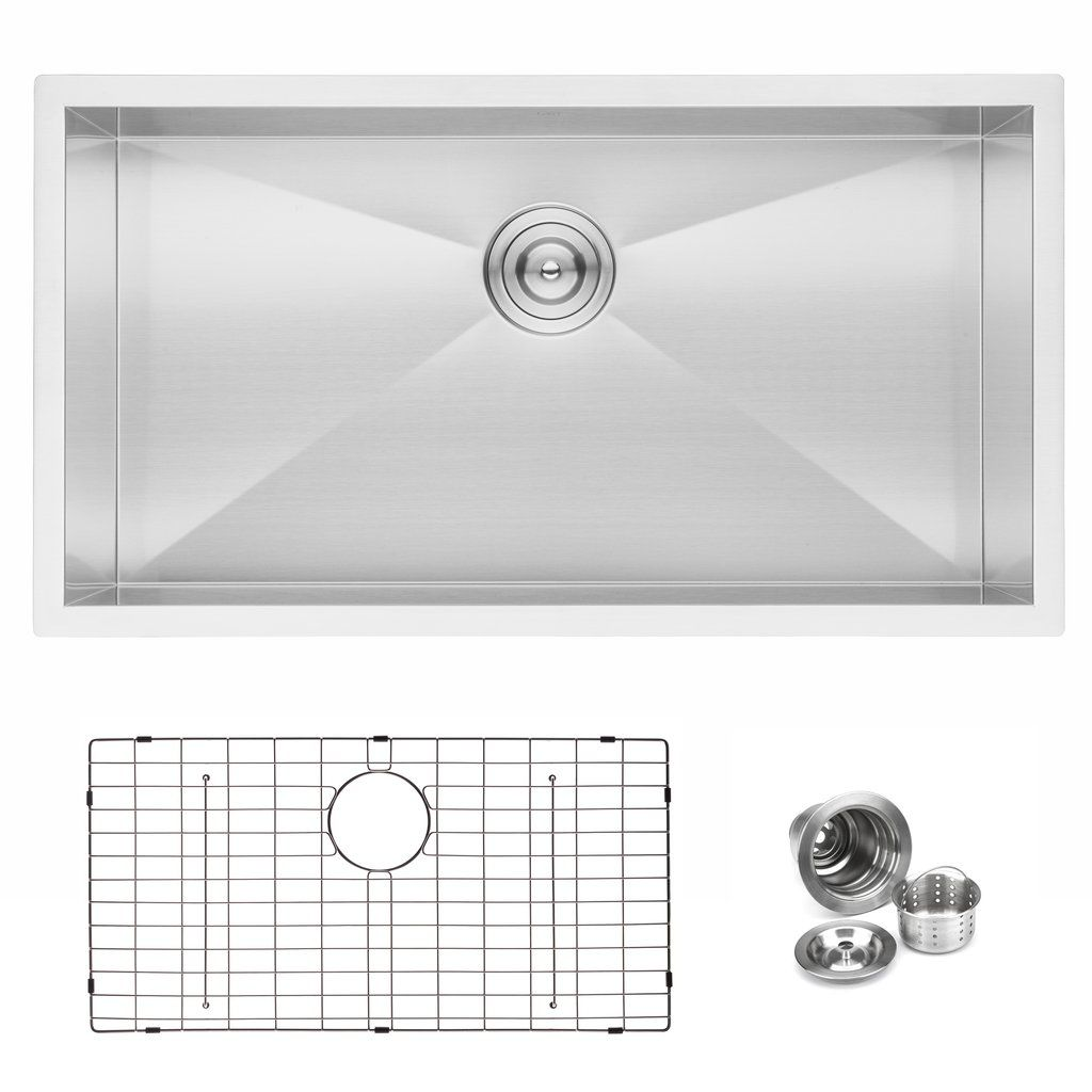 Bai 1291 Stainless Steel 16 Gauge Kitchen Sink Handmade 33 Inch Undermount Zero Radius Single Bowl Kitchen Sink Strainer Handmade Bowl Sink Strainer