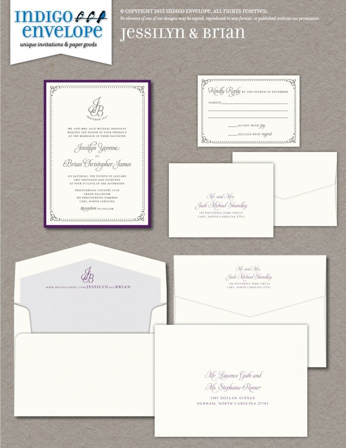 This simple yet formal wedding invitation with a custom monogram was - Formal Invitation Letters