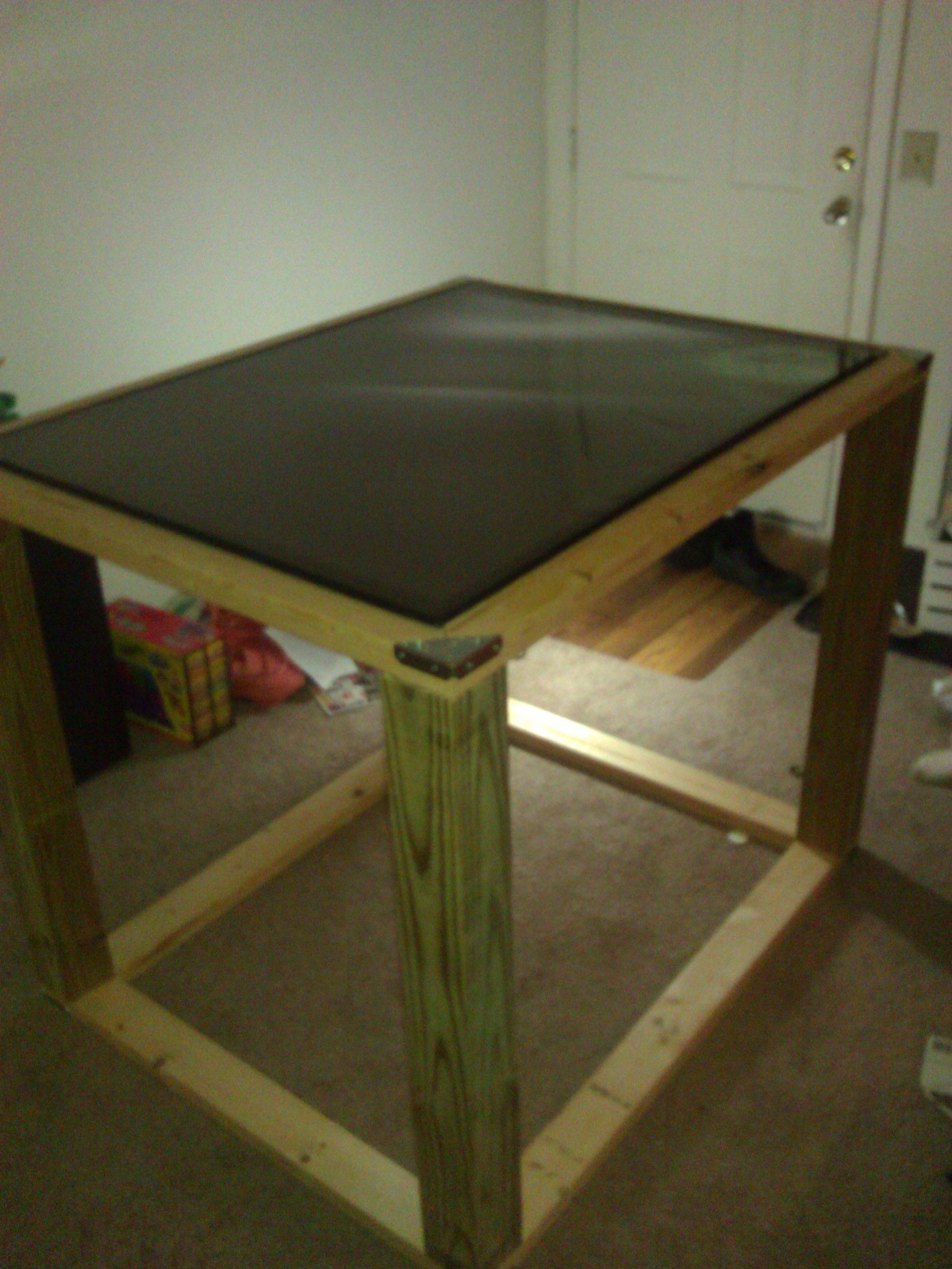 The multi-touch table nearly completed (in terms of physical assembly)