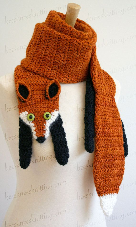 Digital PDF Crochet Pattern for Fox Scarf by BeesKneesKnitting ...
