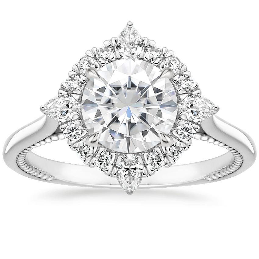 Dahlia Moissanite Engagement Ring 1 3 Ct Tw 18k White Gold Setting Price Pear Shaped Diamond Diamond Eternity Ring