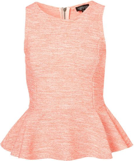 Wear with Leather~TopShop Sleeveless Boucle Peplum Top