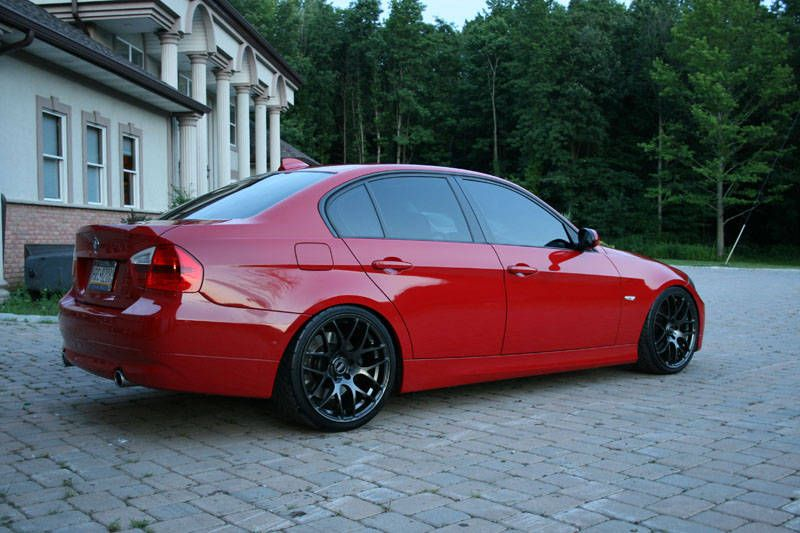 Bmw E90 Red Black Alloys With Images Bmw Cars Bmw Accessories