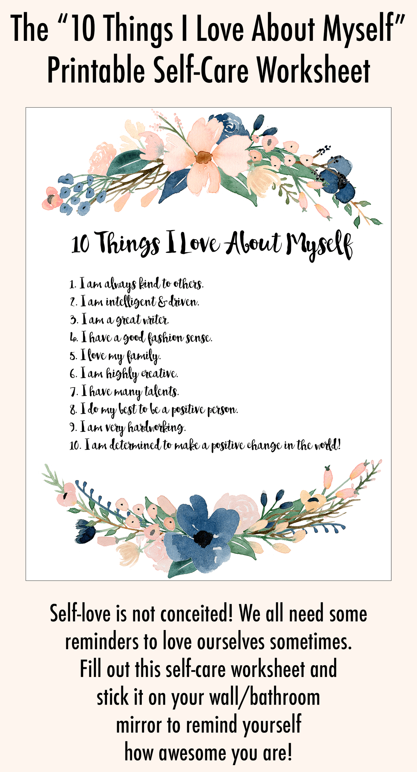Self Love Exercise 10 Things I Love About Myself Printable Worksheet
