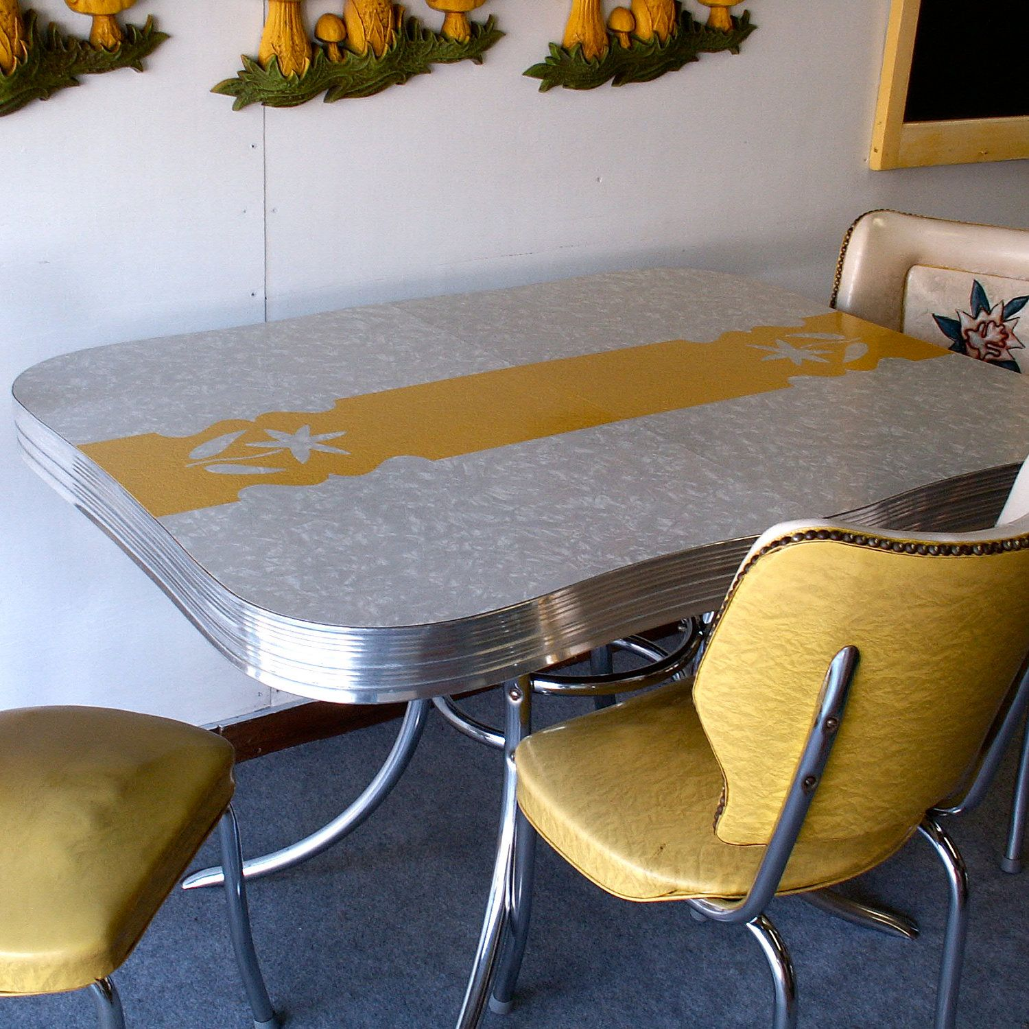 Vintage Yellow And Gray Formica And Chrome Kitchen Dinette Set - Chrome and formica dinette sets