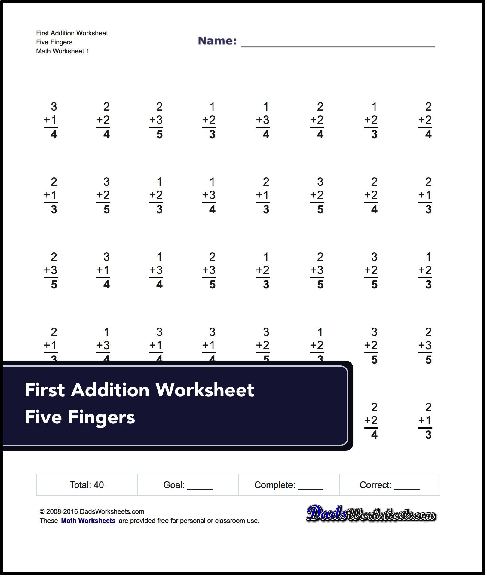Starter worksheets for Preschool and Kindergarten math! Addition and ...