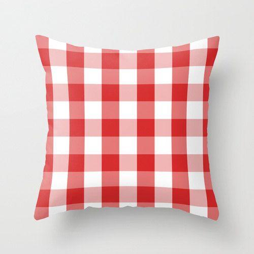 Housse de coussin, coussin, coussin rouge et blanc, deco originale