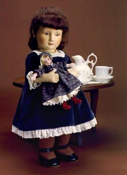 "Rachel, Sunday Best 17"" molded felt, fully jointed. Holds miniature all-felt doll. Date of Release: 1985-86. Little Children Series II, Ltd. Ed. 250."