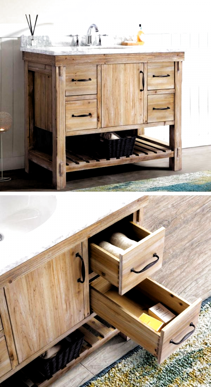 Photo of Rustic Bathroom Vanity Set – with stone counter and solid wood base. Absolutely gorgeous and perfect for your farmhouse