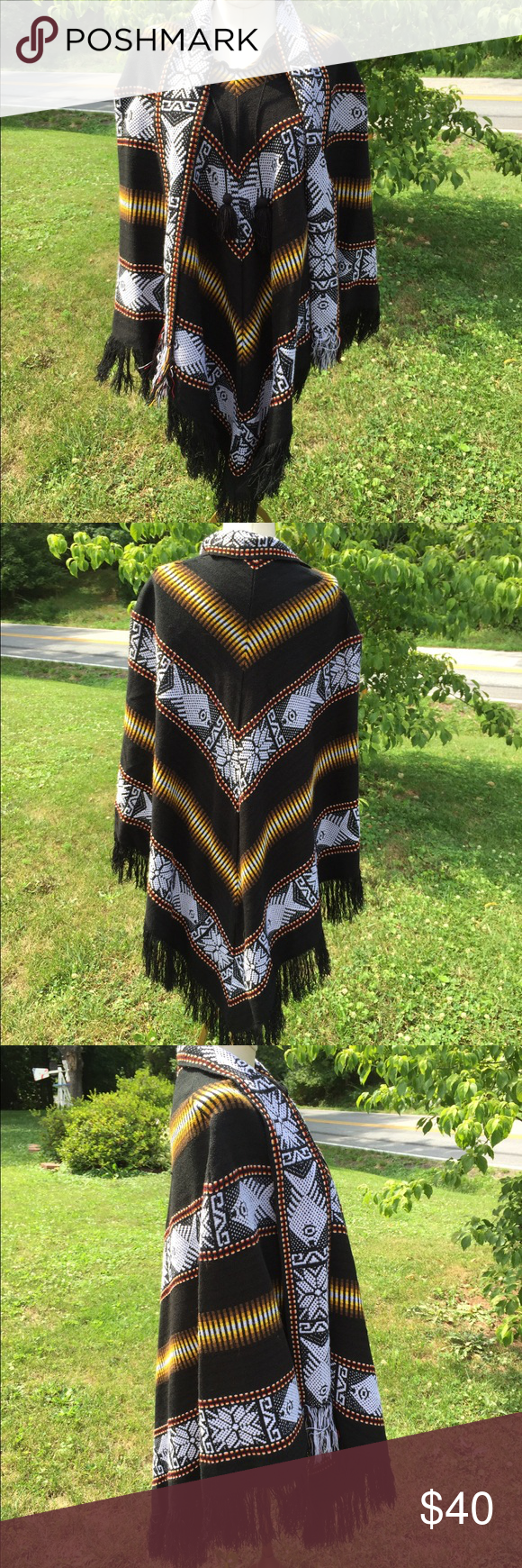 Artesanias Ramos Wool Poncho w/ Attached Scarf Very good clean condition.  One size fits all. Pull over Poncho. Artesanias Ramos Sweaters Shrugs & Ponchos
