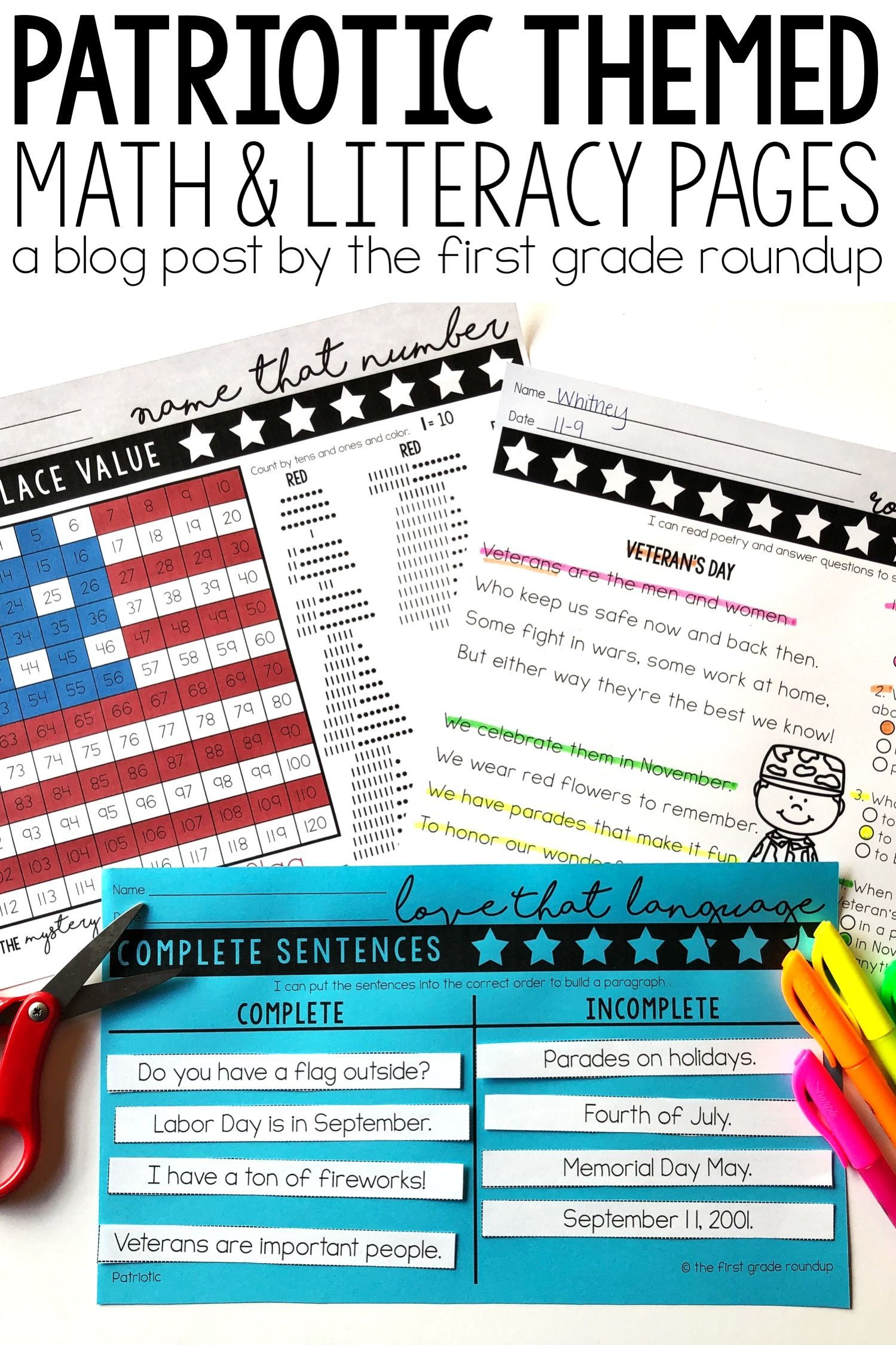 September 11 Patriot Day Worksheets For Math And Literacy