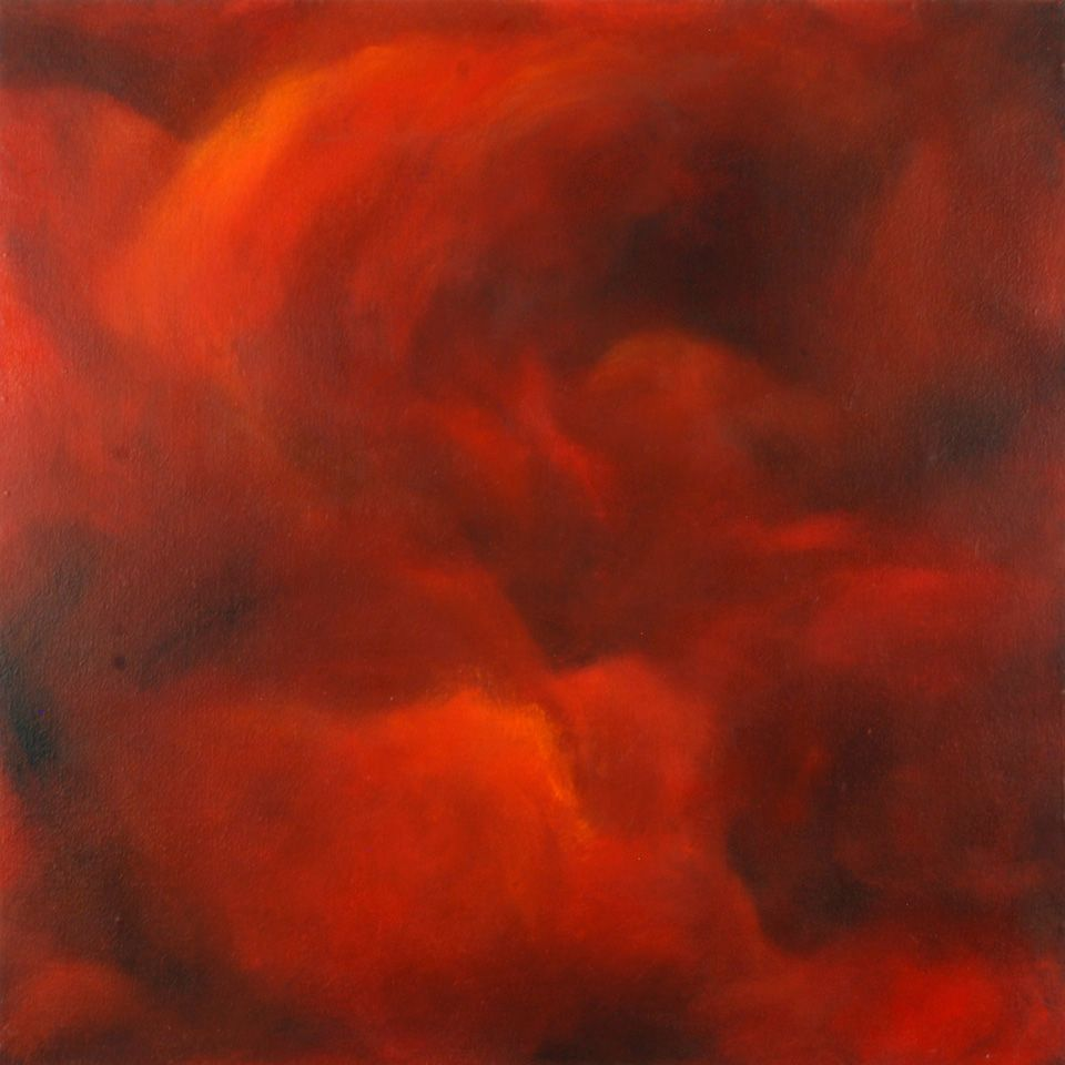 Turning Red (2012) by Chris Lockhart.  36 x 36 inches  oil on bedsheet and masonite.