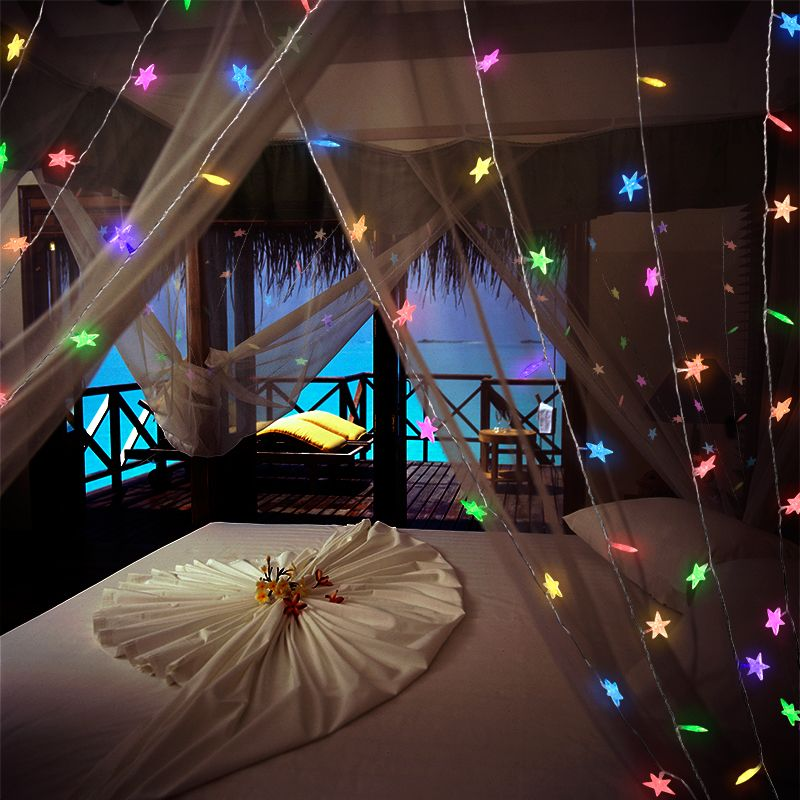 Plug in led twinkling stars string lights is the perfect - Indoor string lights ideas ...