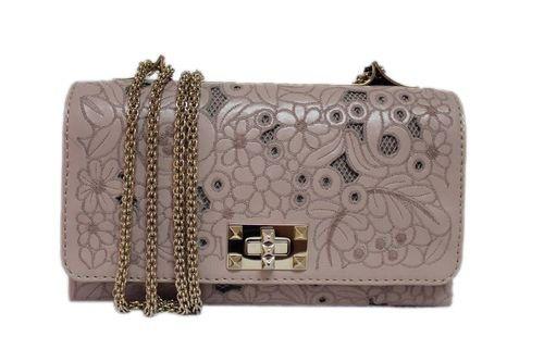 Valentino Garavani Blush Lambskin & Girello Lace Flap Shoulder Bag