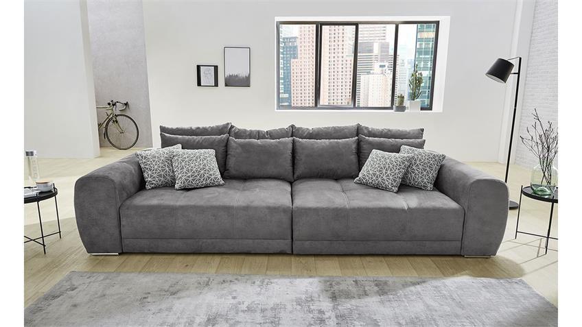 Big Sofa Moldau Xxl Couch Microfaser Dunkelgrau Kissen In 2020
