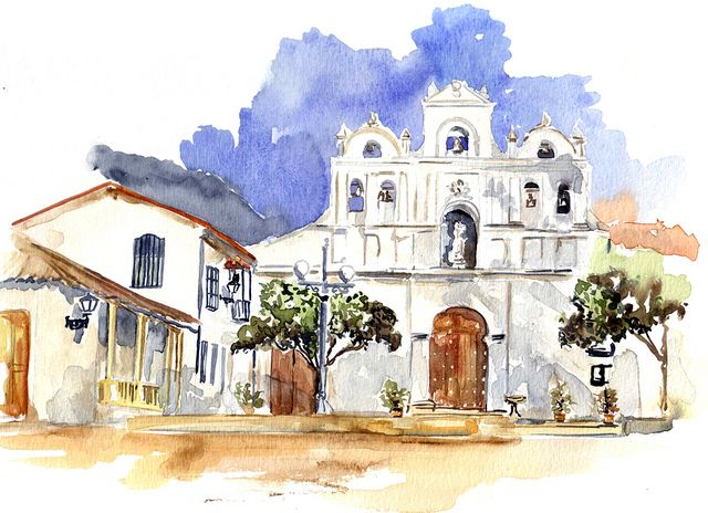 Iglesia De Nuestra Senora De Las Aguas Bogota Bogota Colombia Bogota Watercolor Sketch