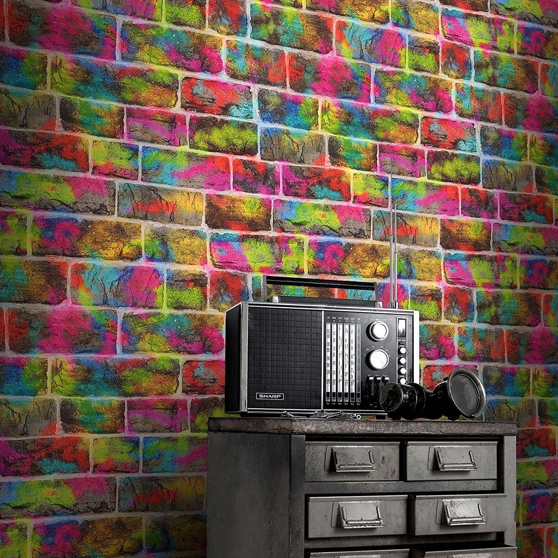 Rasch Brick Graffiti Wallpaper 291407 Amazon.co.uk DIY