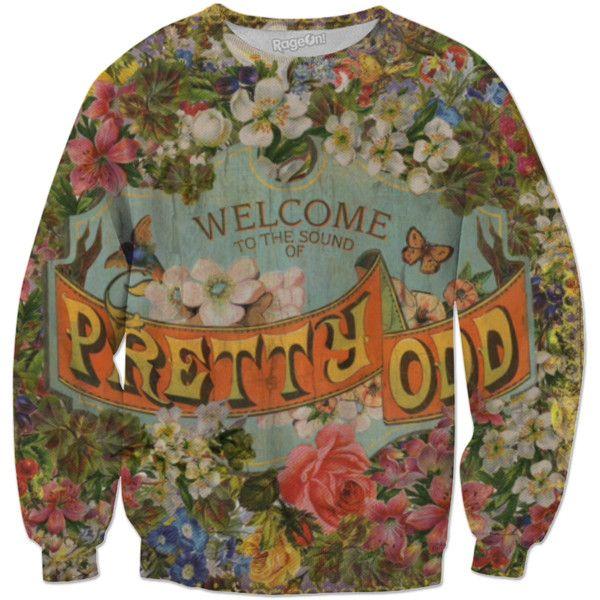 "Panic!At The Disco ""Pretty Odd"" Sweatshirt (€60) ❤ liked on Polyvore featuring tops, hoodies, sweatshirts, disco top, patterned tops, patterned sweatshirt, brown sweatshirt and brown top"