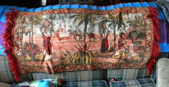 antique couch tapestry 41 1/2 X 21 1/2  fringe by BandCEmporium