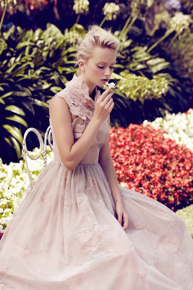 Annabella Barber enters a garden of delights in spring florals and delicate lace for Jaclyn Adams' latest work featured in this month's Plaza Kvinna. Styled by Vass Arvanitis, Annabella poses languidly in a sea of blooming flowers for the sun-drenched images.