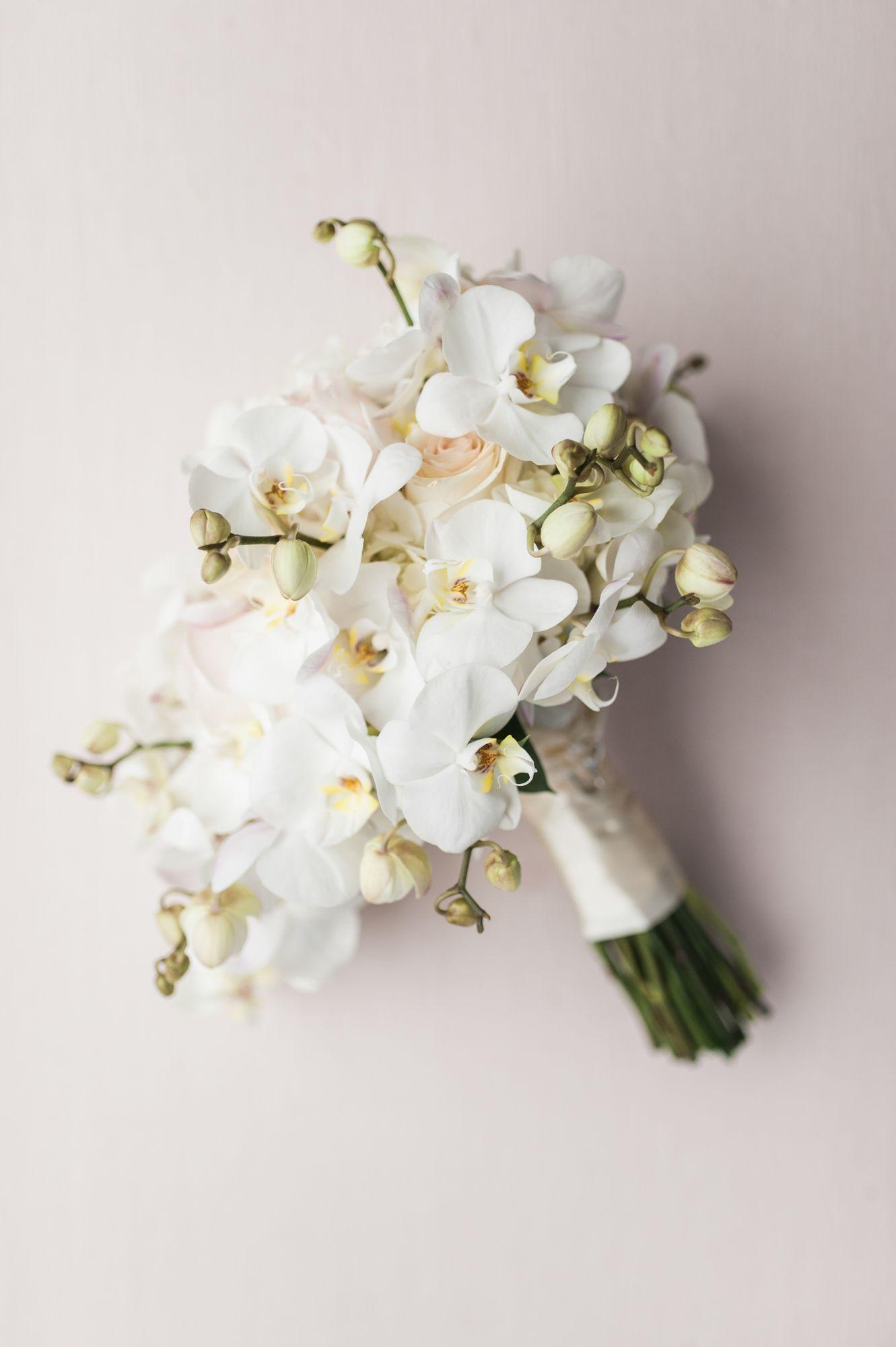 Modern AllWhite Orchid Bouquet whitebridalbouquets