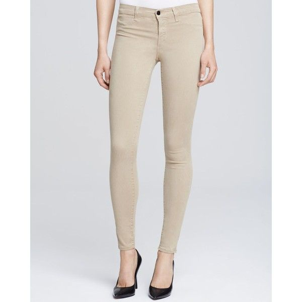 J Brand Mid Rise Super Skinny Jeans in Quicksand (53.845 HUF) ❤ liked on Polyvore