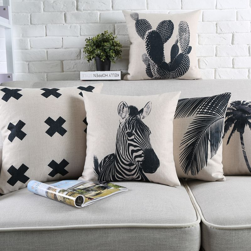 Nordic Abstract Black White Cotton Linen Cushion Cover Home Sofa Decorative Throw Pillow Decorative Pillow Cases Wholesale Linens Home Textile