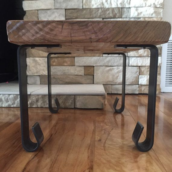 Coffee Table Angled Legs: Handcrafted Forged Rustic Reclaimed Metal Coffee Table