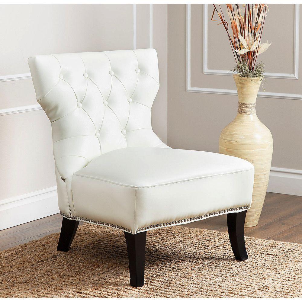 Abbyson Living Sedona Ivory Leather Nailhead Chair