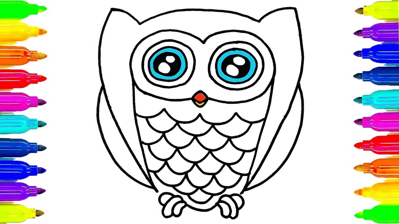 How to draw owl coloring pages drawing ideas for kids Simple drawing ideas for kids