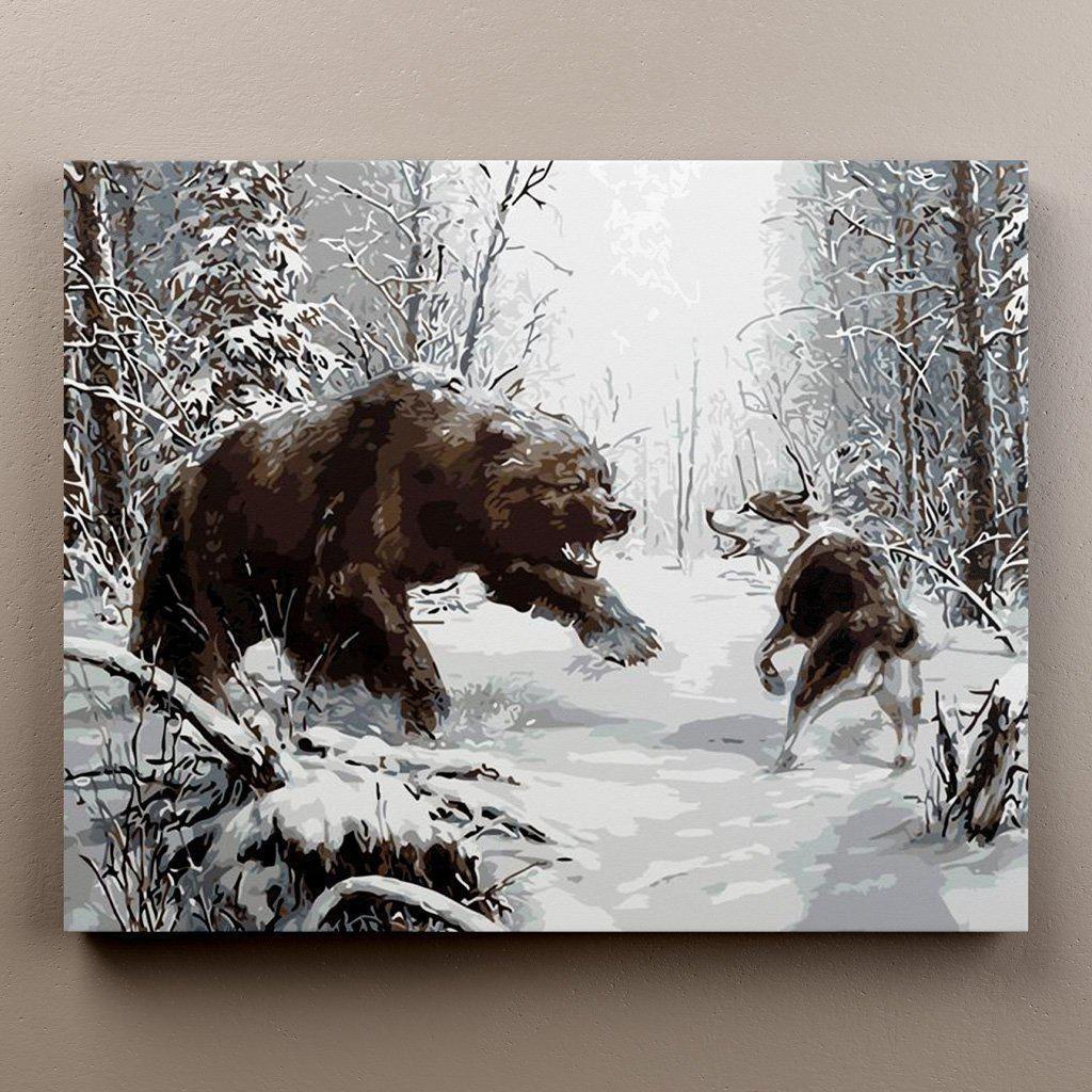 Hunting Dog vs Bear Modern wall art canvas, Wall art