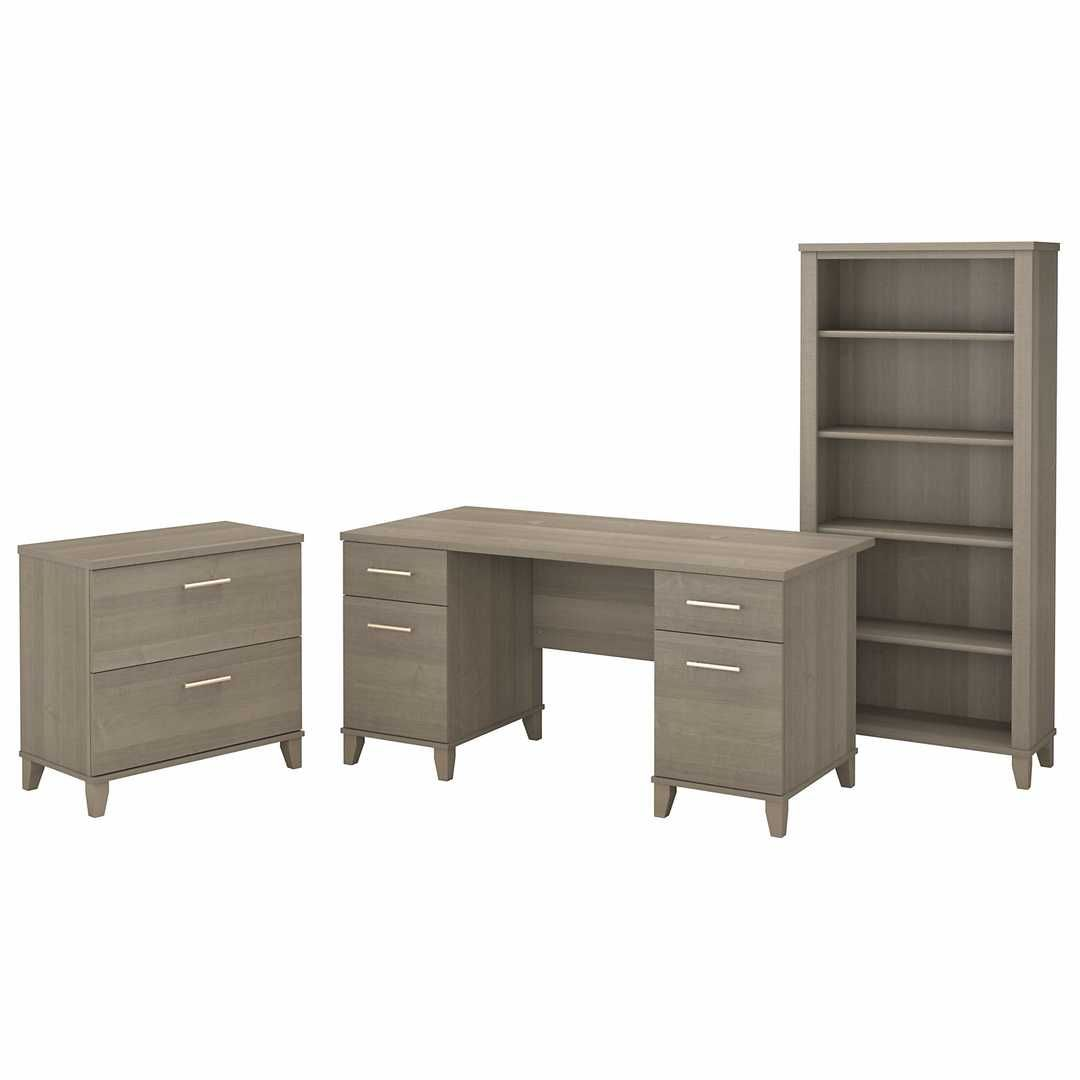 60W Office Desk with Lateral File Cabinet and 5 Shelf Bookcase – Ash Gray / Unique / Various