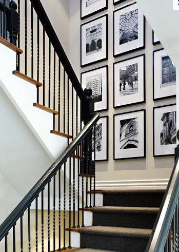 Photo Frame Feature Wall Landing Of The Stairs Right Up To The Top Tall Wall Decor Stairway Photos Photo Decor
