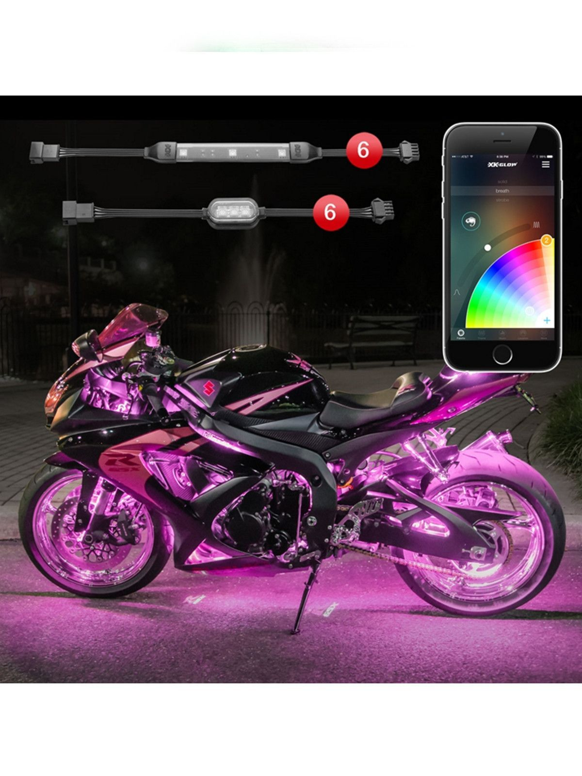 Led Light Strips For Motorcycles Xk Glow 6 Pod 6 Strip App Control Motorcycle Led Accent Light Kit