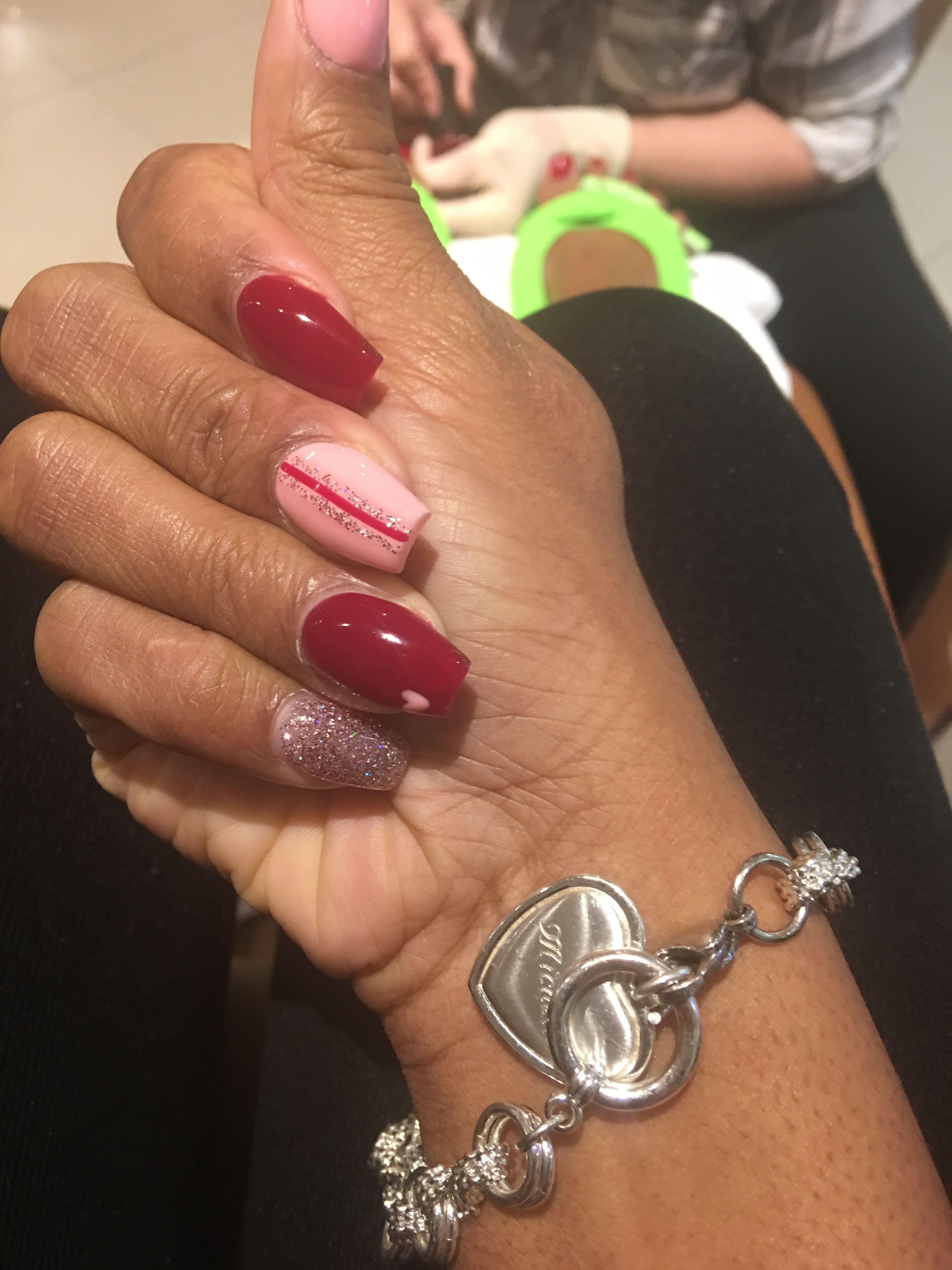 Valentine S Day Nails Coffin Shaped Multi Colored Hearts And Glitter