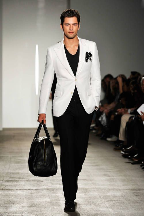 Men's White Blazer, Black V-neck T-shirt, Black Dress Pants, Black ...