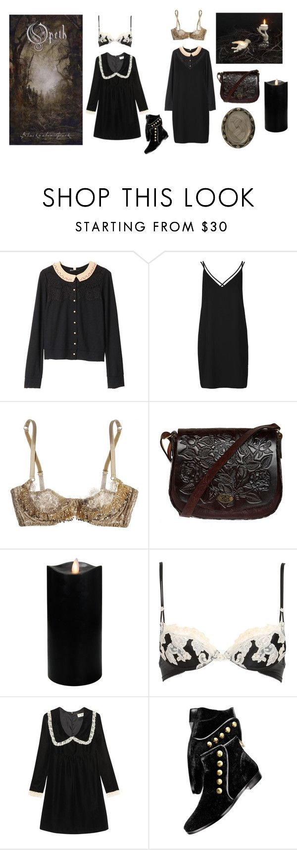"""""""Opeth, """"Blackwater park"""""""" by sulphor ❤ liked on Polyvore featuring Mihoko Saito, Topshop, Agent Provocateur, Zara Home, Boston Warehouse, La Perla, Yves Saint Laurent and House of Harlow 1960"""