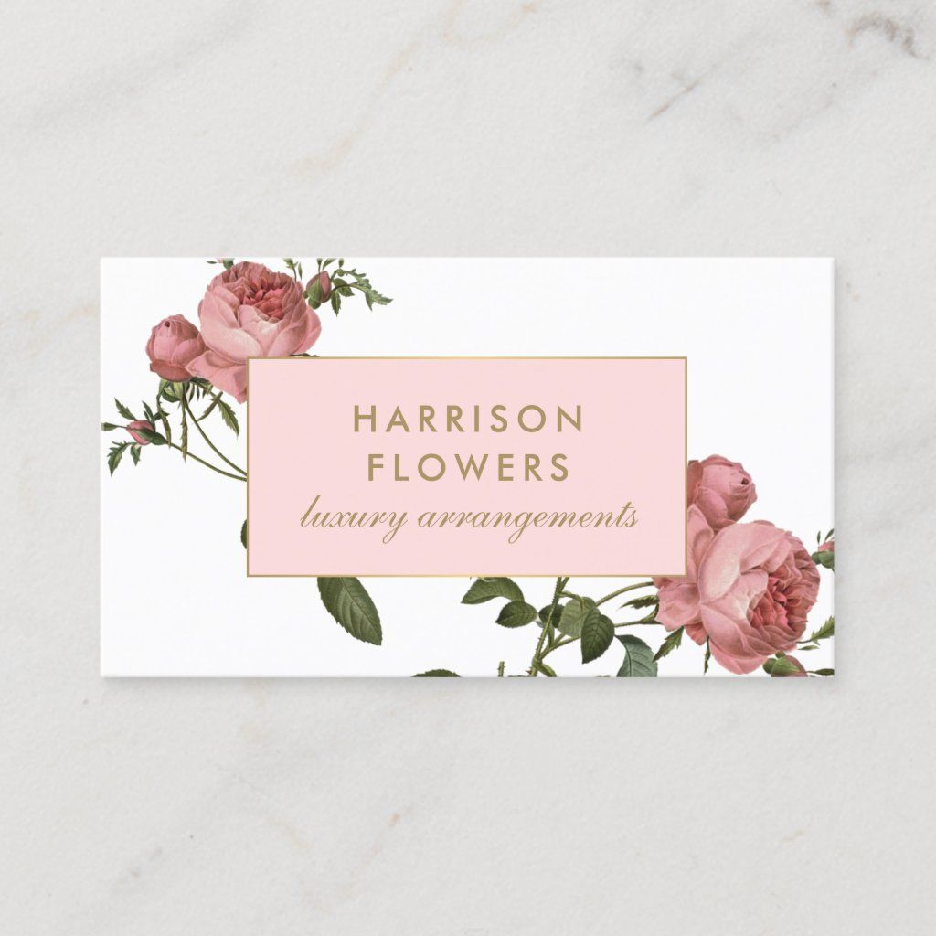 Luxe Vintage Florals Pink And White Business Card Zazzle Com Florist Business Card White Business Card Vintage Business Cards